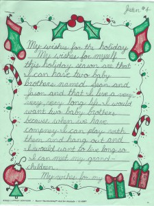 Justin's Holiday Wishes Page 1
