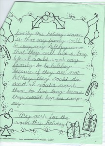 Justin's Holiday Wishes Age 8