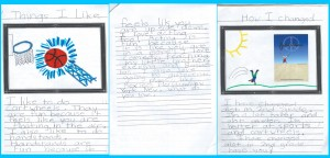 Justin's 2nd grade drawing and Journal entry.  February 2013 picture of Justin doing a cartwheel