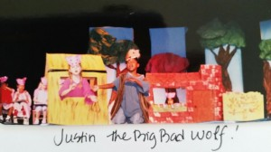 justin's debut as the Wolf in the Three Piggy Opera 1st Grade