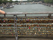 Locks on the bridge in Paris